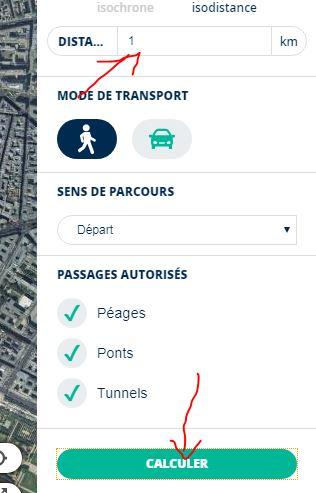 cliquez pour calculer zone sortie 10 km
