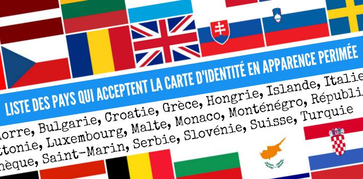 Liste des pays qui acceptent la carte d'identité périmée